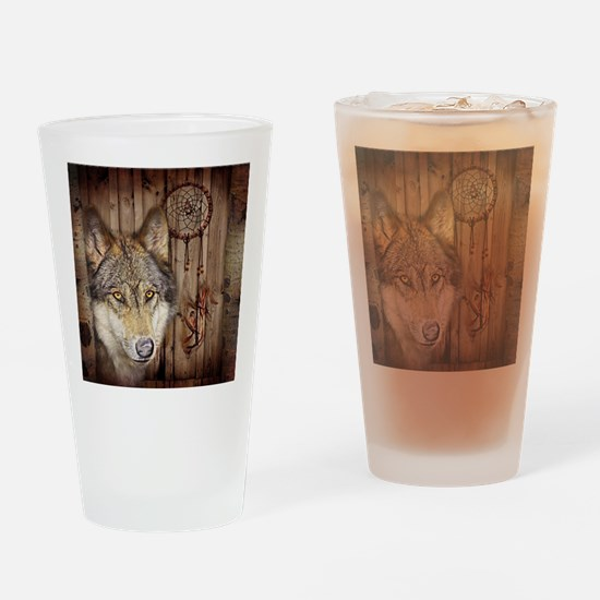 wolf dream catcher birch woodgrain Drinking Glass
