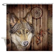 wolf dream catcher birch woodgrain Shower Curtain