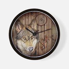 wolf dream catcher birch woodgrain Wall Clock