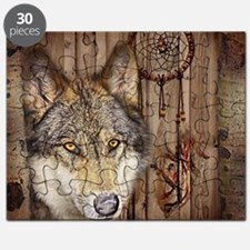 wolf dream catcher birch woodgrain Puzzle