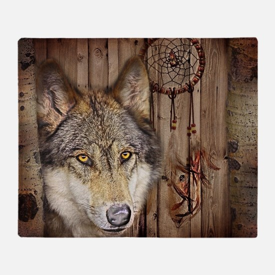 wolf dream catcher birch woodgrain Throw Blanket