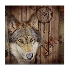 wolf dream catcher birch woodgrain Tile Coaster