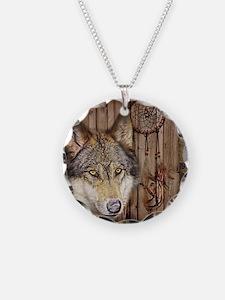 wolf dream catcher birch woo Necklace