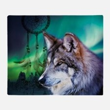 native dream catcher wolf northern l Throw Blanket