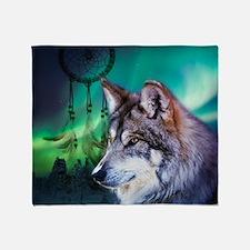native dream catcher wolf northern l Throw Blanket