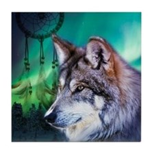 native dream catcher wolf northern li Tile Coaster