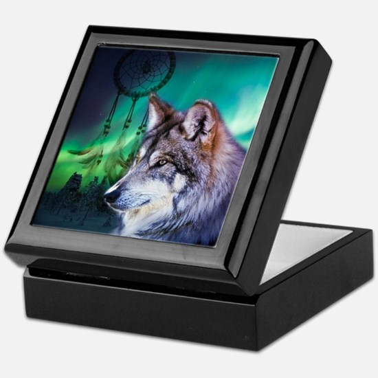 native dream catcher wolf northern li Keepsake Box