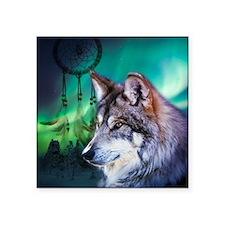 """native dream catcher wolf n Square Sticker 3"""" x 3"""""""