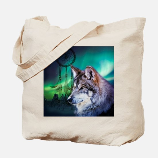 native dream catcher wolf northern light Tote Bag