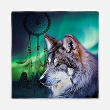 native dream catcher wolf northern lig Queen Duvet