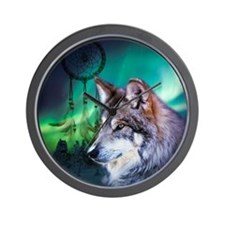 native dream catcher wolf northern ligh Wall Clock