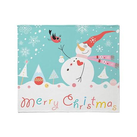 Christmas Snowman Throw Blanket
