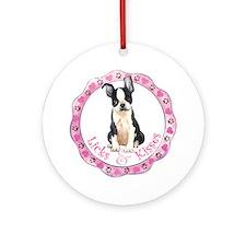 Boston Terrier Valentine Ornament (Round)