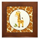 Yellow Giraffe with Giraffe Print Framed Tile