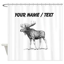 Custom Moose Sketch Shower Curtain