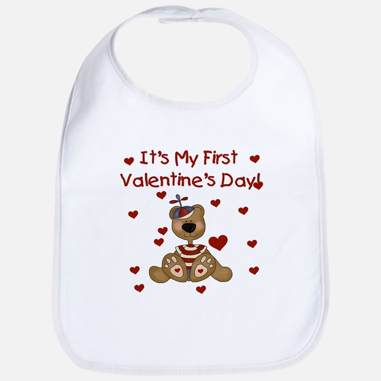 First Valentine's Boy Bear Bib