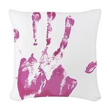 Pink Left Handprint - Woven Throw Pillow