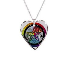 Pentacle Wheel of the Year Necklace Heart Charm