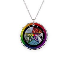 Pentacle Wheel of the Year Necklace Circle Charm