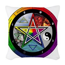 Pentacle Wheel of the Year Woven Throw Pillow