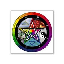 "Pentacle Wheel of the Year Square Sticker 3"" x 3"""