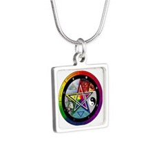 Pentacle Wheel of the Year Silver Square Necklace