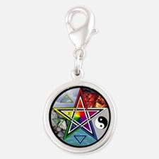 Pentacle Wheel of the Year Silver Round Charm