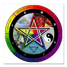 """Pentacle Wheel of the Ye Square Car Magnet 3"""" x 3"""""""