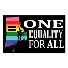 Rhode Island one equality wht font black Decal