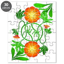 Orange Flowers Reflected Puzzle
