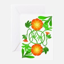 Orange Flowers Reflected Greeting Card