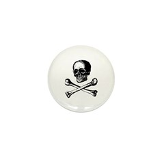Skull and Crossbones Mini Button (10 pack)