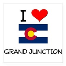 I Love Grand Junction Colorado Square Car Magnet 3