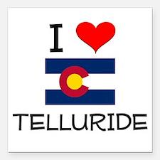 "I Love Telluride Colorado Square Car Magnet 3"" x 3"