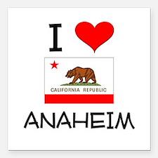 "I Love Anaheim California Square Car Magnet 3"" x 3"