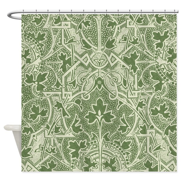 Cafe Au Lait Bedroom With Damask Wallpaper: Elegant Antique Damask Panel Shower Curtain By Nature_tees