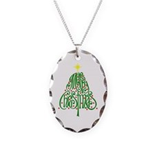 Merry Christmas Tree Necklace Oval Charm