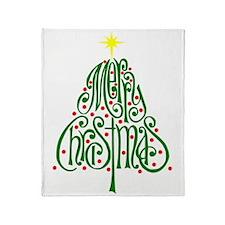 Merry Christmas Tree Throw Blanket