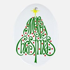 Merry Christmas Tree Oval Ornament