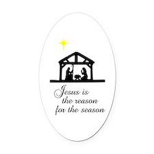 Jesus Is The Reason Nativity Scene Oval Car Magnet