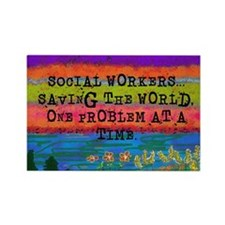 SOCIAL WORKERS SAVING THE WORLD Magnets