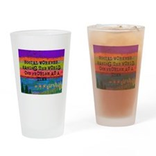 SOCIAL WORKERS SAVING THE WORLD Drinking Glass
