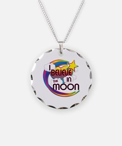 I Believe In The Moon Cute Believer Design Necklac