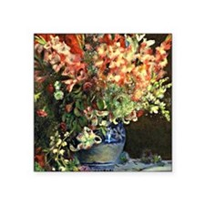 "Renoir: Gladiolas in a Vase Square Sticker 3"" x 3"""