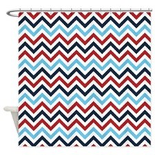 Red White And Blue Zig Zags Shower Curtain