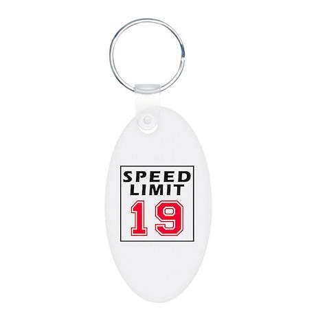 Speed Limit 20 Aluminum Oval Keychain
