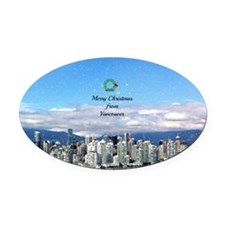 Merry Christmas from Vancouver - V Oval Car Magnet
