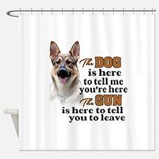 Beware of Dog/Gun (German Shepherd) Shower Curtain