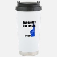 One Finger Two Words Travel Mug