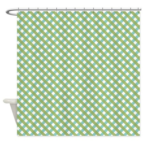 Blue And Green Hatchwork Shower Curtain By Colorfulpatterns